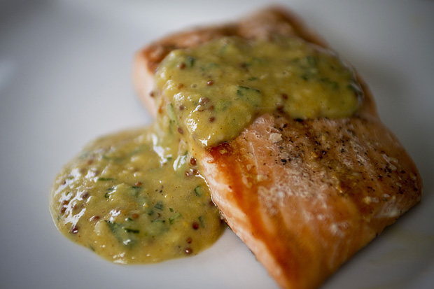 Grilled Wild Alaska Salmon with Tarragon Mustard Sauce